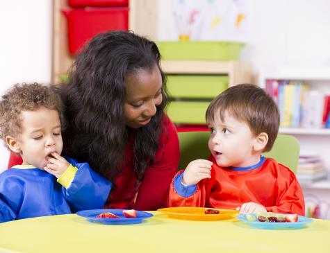 Photographie d'une adulte et d'enfants en bas âge pour illustrer le CAP AEPE