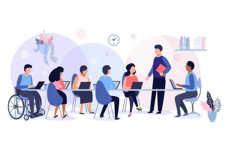 Illustration d'un groupe de personnes en formation pour représenter l'accessibilité