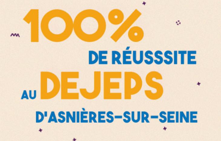 Illustration indiquant 100% de réussite pour le DEJEPS de 2020