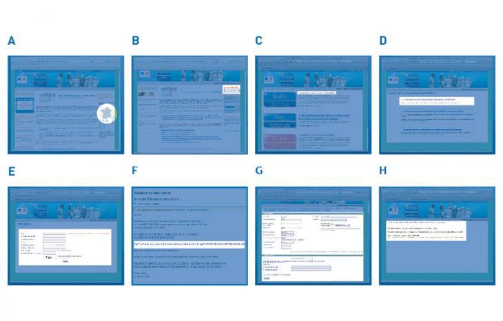 Image regroupant les captures des pages du site jeunes.gouv.fr pour aider à s'inscrire